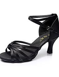 preiswerte -Damen Latin Satin Kunststoff Sandalen Sneaker Absätze Innen Kubanischer Absatz Schwarz Silber Schwarz und Gold Schwarz/Rot Hautfarben 3