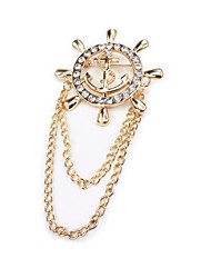 cheap -Men's Brooches Rhinestone Fashion Korean Imitation Diamond Alloy Circle Gold Silver Jewelry For Daily Formal
