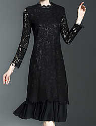 cheap -Women's Party Vintage Lace Dress,Solid Round Neck Knee-length Long Sleeve Polyester Winter Fall Mid Rise Micro-elastic Translucent