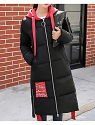 Women's Long Padded Coat,Simple Going out Casual/Daily Solid-Cotton Polyester Long Sleeve
