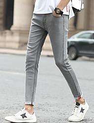 economico -Da uomo A vita medio-alta Semplice Media elasticità Jeans Pantaloni,Ricamato Cotone Autunno
