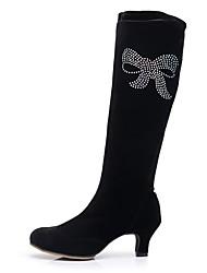 preiswerte -Damen Schuhe Beflockung Glitzer Samt Elastan Winter Herbst Modische Stiefel Pumps Stiefel Kubanischer Absatz Runde Zehe Mittelhohe