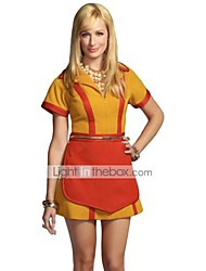cheap -2 Broke Girls Vintage 1950s Costume Women's Dress Masquerade Party Costume Yellow Vintage Cosplay Polyester Short Sleeves T-shirt Mid