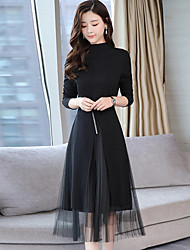 cheap -Women's Going out Work Boho Street chic Sheath Dress,Patchwork Stand Midi Long Sleeve Polyester Winter Fall Mid Rise Micro-elastic Thin