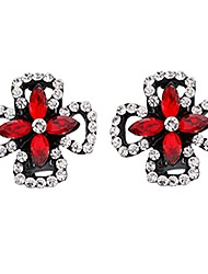 cheap -Women's Floral Flower Crystal Stud Earrings - Floral / Sweet / Dresswear Black / Red Four Leaf Clover Earrings For Evening Party / Formal
