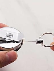 baratos -1pcs cartão de metal retrátil titular do crachá aço recuo anel cinto clip puxar chaveiro