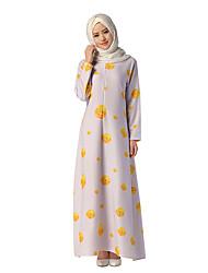 cheap -Ethnic/Religious Arabian Dress Abaya Female Festival / Holiday Halloween Costumes Light Purple Floral