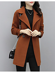 cheap -Women's Going out Street chic Winter Fall Coat,Solid Notch Lapel Long Sleeve Regular Polyester Oversized