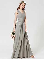 cheap -Sheath / Column Square Neck Floor Length Chiffon Bridesmaid Dress with Draping by LAN TING BRIDE® / Open Back