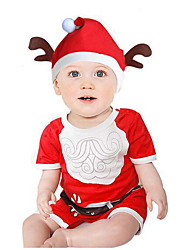 Baby Unisex Christmas Casual/Daily Others One-Pieces,Cotton Summer Simple Half Sleeve Red