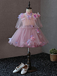 cheap -A-Line Knee Length Flower Girl Dress - Satin Tulle Sleeveless High Neck with Bow(s) Flower(s) Pearl Detailing by LAN TING BRIDE®