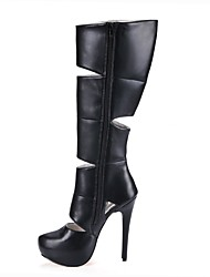 cheap -Women's Shoes PU Winter Fashion Boots Boots Stiletto Heel Round Toe Thigh-high Boots Hollow-out for Wedding Dress Black