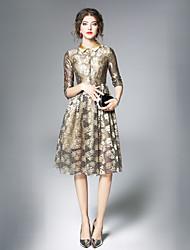 Недорогие -Жен. Винтаж А-силуэт Платье - Однотонный Рубашечный воротник Средней длины