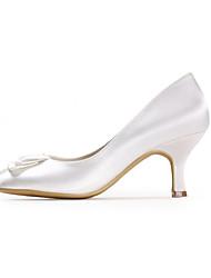 preiswerte -Damen Schuhe Seide Frühling Sommer Pumps Hochzeit Schuhe Stöckelabsatz Geschlossene Spitze Applikation für Hochzeit Party & Festivität
