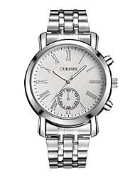 baratos -Homens Quartzo Relógio de Pulso Chinês Impermeável Aço Inoxidável Banda Casual Fashion Prata