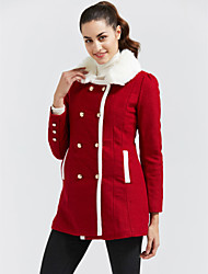 cheap -Women's Going out Street chic Winter Coat,Solid Color Block Shirt Collar Long Sleeve Regular Cashmere Polyester