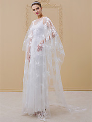 baratos -Tubinho Ilusão Decote Cauda Escova Cetim Elástico Shee Lace Vestidos de noiva personalizados com Apliques Caixilhos / Fitas de LAN TING