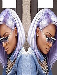 Недорогие -Синтетические кружевные передние парики Прямой / Волнистый Стрижка боб / Стрижка под мальчика Искусственные волосы Боковая часть Фиолетовый Парик Жен. Короткие / Средние Лента спереди Яркий фиолетовый
