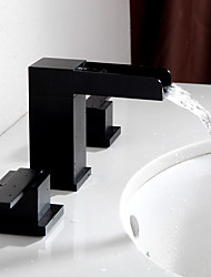 cheap -Bathroom Sink Faucet - Waterfall Widespread Oil-rubbed Bronze Widespread Two Handles Three Holes