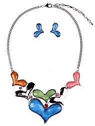abordables -Femme Turquoise Turquoise Cœur Ensemble de bijoux 1 Collier / Boucles d'oreille - Classique / Mode Bleu de minuit / Rouge Boucles