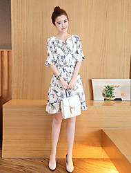 cheap -Women's Daily Holiday Sheath Dress,Floral V Neck Above Knee 3/4 Length Sleeves Polyester Spring Fall High Rise Inelastic Thin