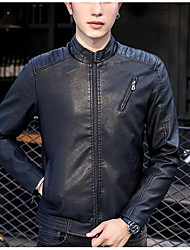 メンズ お出かけ カジュアル/普段着 冬 秋 レザージャケット,ストリートファッション スタンド ソリッド レギュラー ポリウレタン 長袖