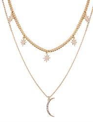 cheap -Women's Star Rhinestone Imitation Diamond Layered Necklace - Simple Fashion Moon Star Necklace For Daily