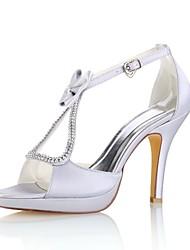 preiswerte -Damen Schuhe Stretch - Satin Sommer Pumps Hochzeit Schuhe Stöckelabsatz Peep Toe Kristall Schleife Schnalle für Kleid Party & Festivität