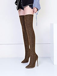 cheap -Women's Shoes PU Winter Fall Slouch Boots Boots Stiletto Heel Pointed Toe Over The Knee Boots Sequin for Casual Red Black Gold