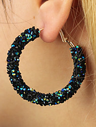 cheap -Women's Crystal Crystal Hoop Earrings - Simple / Statement / Fashion White / Black / Rainbow Circle Earrings For Gift / Daily