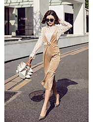 cheap -Women's Going out Simple Trumpet/Mermaid Dress,Solid V Neck Midi Long Sleeve Silk Fall High Waist Micro-elastic Thick