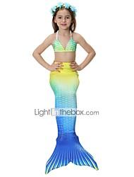baratos -The Little Mermaid Saia Bikini Roupa de Banho Crianças Natal Baile de Máscaras Festival / Celebração Trajes da Noite das Bruxas Roxo