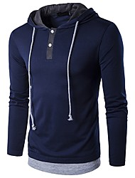 cheap -Men's Daily Casual Spring Fall T-shirt,Solid Hooded Long Sleeve Cotton Spandex Medium