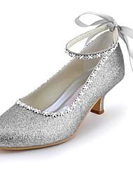 preiswerte -Damen Schuhe Glitzer Frühling Sommer Pumps Hochzeit Schuhe Niedriger Heel Spitze Zehe Geschlossene Spitze Strass Glitter für Hochzeit