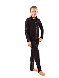 cheap -Figure Skating Jacket with Pants Women's / Girls' Ice Skating Tracksuit / Pants / Trousers / Top Black Spandex Inelastic Performance /