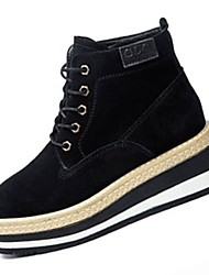 cheap -Women's Shoes Cowhide Winter Comfort Boots Low Heel Round Toe for Casual Khaki Black