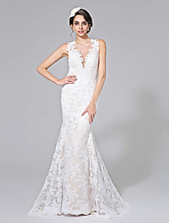 cheap -Mermaid / Trumpet Plunging Neckline Court Train Lace Wedding Dress with Appliques Button by LAN TING BRIDE®