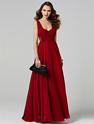 cheap -A-Line Princess V-neck Chiffon Formal Evening Dress with Criss Cross Pleats by TS Couture®