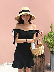 cheap -Women's Going out Simple Sexy A Line Sheath Dress,Solid Off Shoulder Above Knee Sleeveless Cotton Spring Fall Mid Rise Micro-elastic