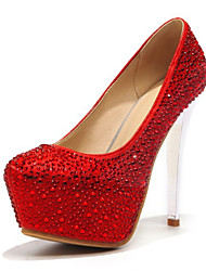 baratos -Mulheres Sapatos Couro Ecológico Primavera / Outono Conforto / Inovador Saltos Salto Agulha Dedo Apontado Pedrarias Prata / Vermelho /
