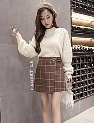 cheap -Women's Daily Mini Skirts,Casual Bodycon Linen Print Autumn/Fall