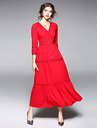 cheap -MAXLINDY Women's Vintage / Street chic Puff Sleeve Sheath / Swing Dress - Solid Colored / Patchwork Lace / Ruched / Mesh High Waist Maxi V Neck