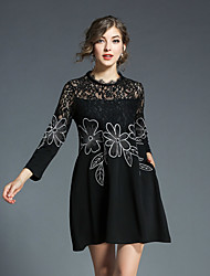 cheap -Women's Daily Going out Vintage Street chic A Line Loose Lace DressJacquard Stand Above Knee 3/4 Sleeve Cotton Polyester Spring Summer
