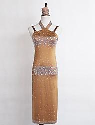 abordables -Danse latine Robes Femme Utilisation Spandex Cristaux / Stras Sans Manches Taille moyenne Robe