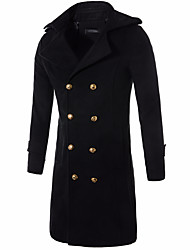 cheap -Men's Casual / Street chic Long Cotton Trench Coat - Solid Colored, Oversized / Long Sleeve / Double Breasted