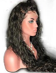 Недорогие -Натуральные волосы Бесклеевая кружевная лента Лента спереди Парик стиль Бразильские волосы Естественные волны Парик 130% Плотность волос / Природные волосы / Парик в афро-американском стиле