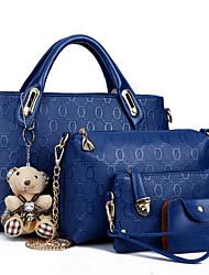 economico -Per donna Sacchetti PU (Poliuretano) Poliestere sacchetto regola Set di borsa da 4 pezzi Cerniera per Casual Per tutte le stagioni Rosso