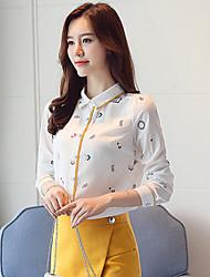 cheap -Women's Polyester Shirt Print Shirt Collar