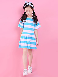 cheap -Girl's Daily Going out Striped DressCotton Summer Short Sleeves Simple Cute Active Red Blue