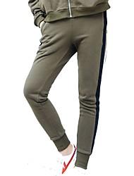 abordables -Mujer Pantalones de Running - Negro, Verde Ejército Deportes Rayas Licra Pantalones / Sobrepantalón Ropa de Deporte Transpirabilidad